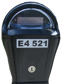 Parking Meter Showing the Parking Meter Number Label E4-521